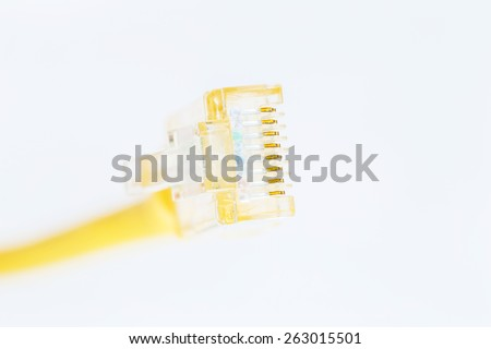 Yellow Lan Cable selective Focus on White Background - stock photo