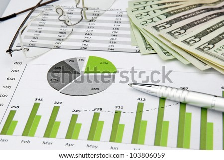 yellow lan cable with dollar money - stock photo