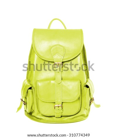 Yellow leather backpack standing isolated on white background - stock photo