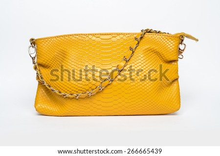 Yellow Leather Bag - stock photo