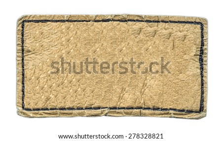 yellow leather label isolated on white background - stock photo