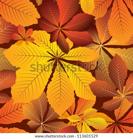 Yellow leaves, autumn seamless pattern. Vector version available in my portfolio - stock photo