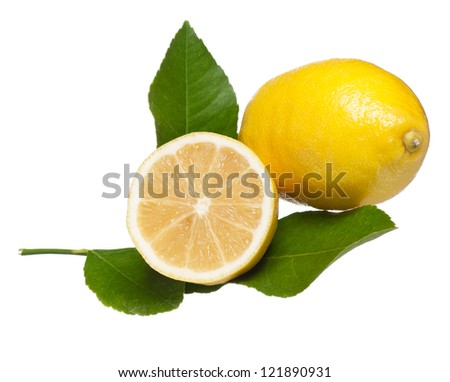 Yellow lemon with a half isolated on white background - stock photo