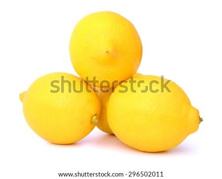 yellow lemons on white background  - stock photo