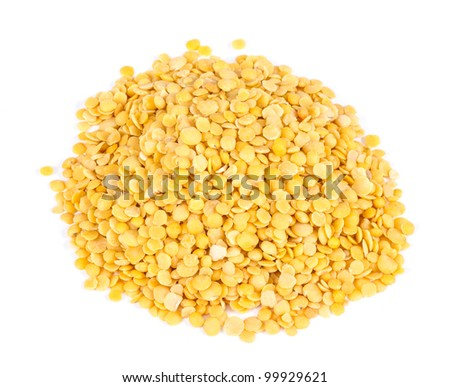 Yellow lentils isolated on white background.Macro shot