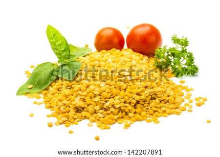 Yellow Lentils studio macro shoot isolated - stock photo