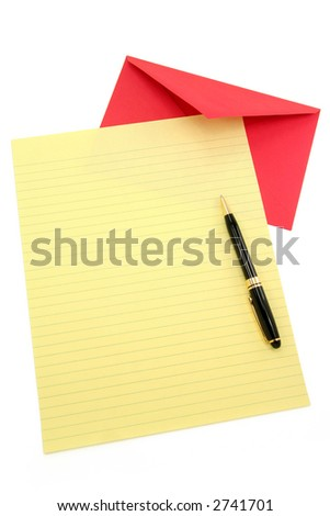 yellow letter paper and red envelope, communication concept