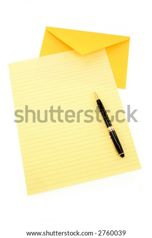 yellow letter paper and yellow envelope, communication concept