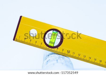 yellow level tool - stock photo