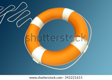 Yellow Life Buoy Chain on Isolated blue Background. - stock photo