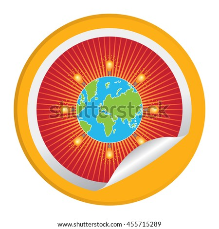 Yellow Light Bulb Icon Around The World Infographics Icon on Circle Peeling Sticker Isolated on White Background