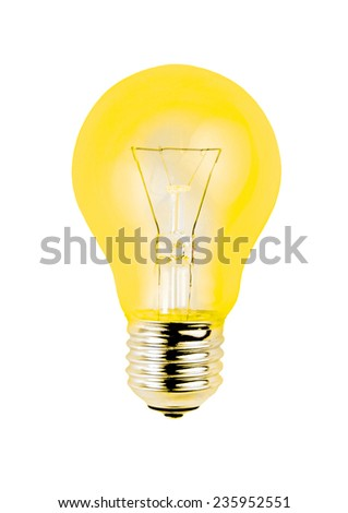 Yellow light bulb isolated on white background. - stock photo
