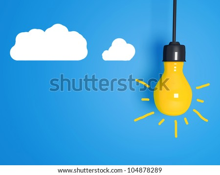 Yellow light bulb on blue background with clouds. - stock photo