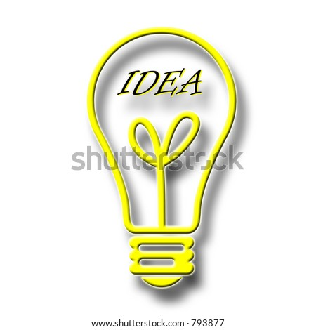 Yellow light bulb outline with the word IDEA inside - over white with shadow effect.