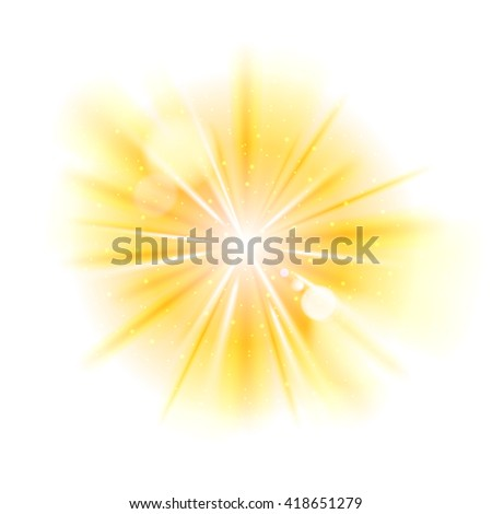 Yellow light sunburst background. Star burst with sparkles  illustration. - stock photo