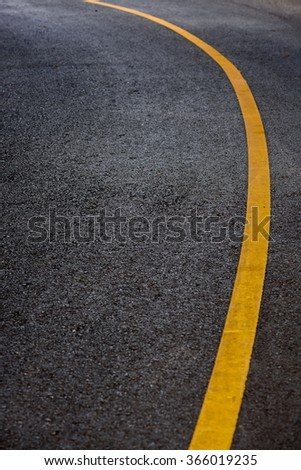 Yellow Line curb Indicating On Road Surface - stock photo
