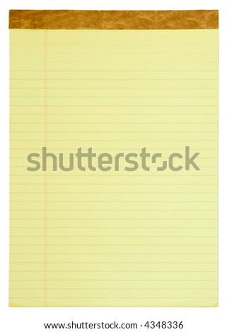 Yellow lined legal notepad. - stock photo