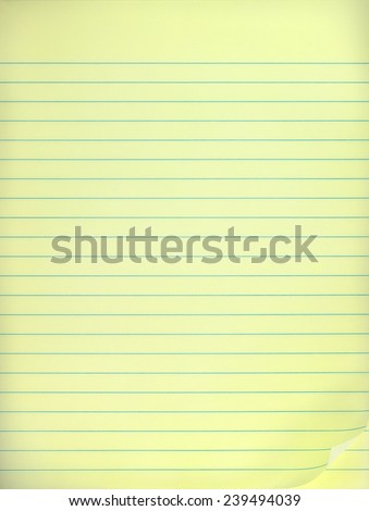 Yellow lined note paper