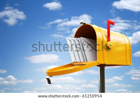 yellow mailbox - stock photo