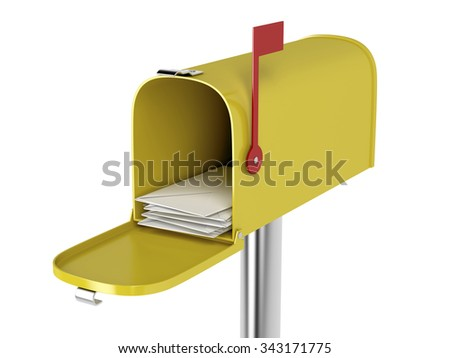 Yellow mailbox with mails isolated on white background - stock photo