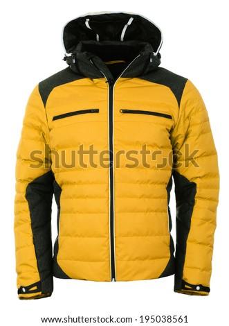 Yellow male winter jacket - stock photo