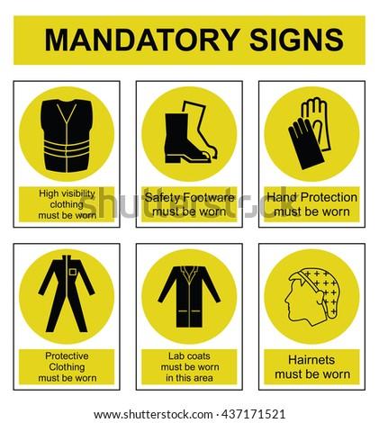 Yellow mandatory safety sign set isolated on white background - stock photo