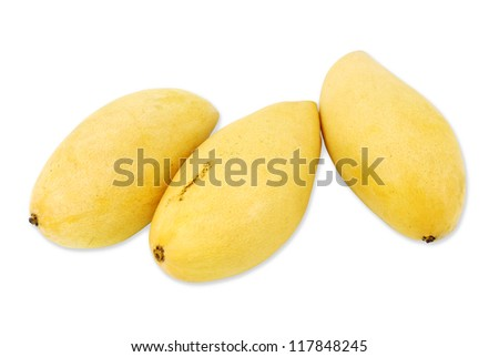 Yellow mango isolated on a white background - stock photo