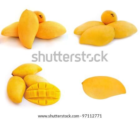 Yellow mango isolated on a white background - stock photo