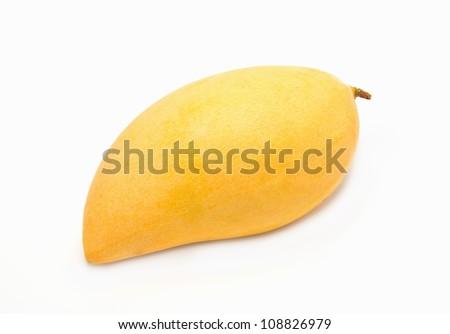 Yellow mango ,thai fruit favorite  isolated on a white background - stock photo