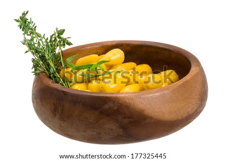Yellow marinated hot pepper - stock photo
