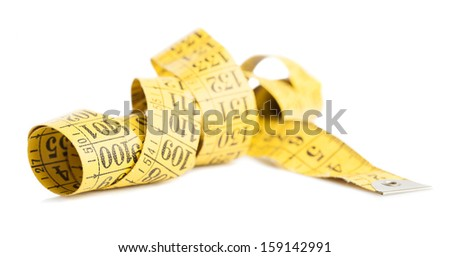 yellow measure tape isolated on a white background - stock photo