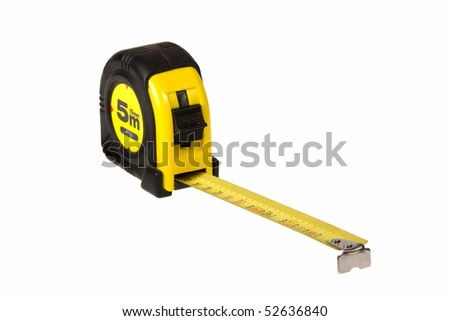 Yellow measure tape isolated on white background - stock photo