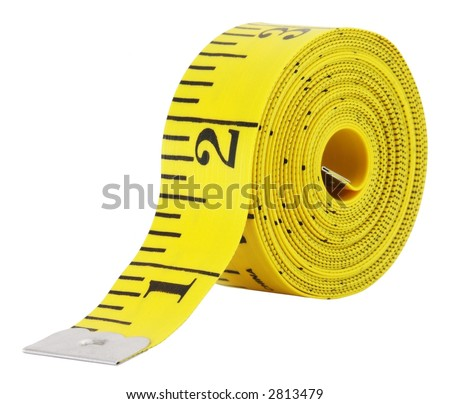 Yellow measuring tape isolated on white. - stock photo