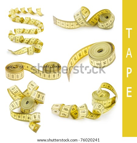 Yellow measuring tape isolated on white - stock photo