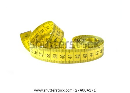 Yellow measuring tape isolated on white closeup