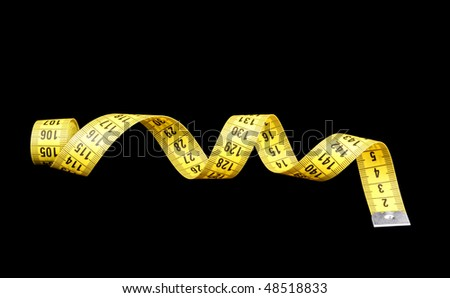 Yellow measuring tape of the tailor isolated on black - stock photo