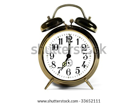 yellow mechanical alarm clock with two bells
