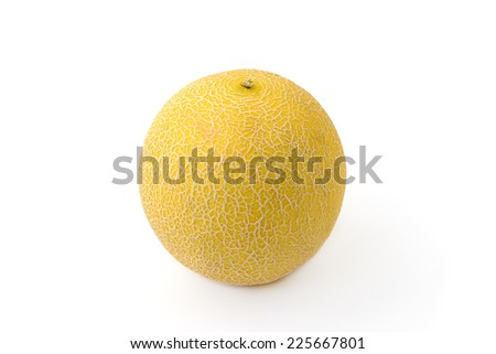 yellow melon on white background - stock photo