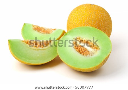yellow melons on white background, whole and slices - stock photo