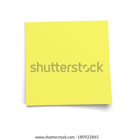 Yellow memo note. High quality illustration including a clipping path.