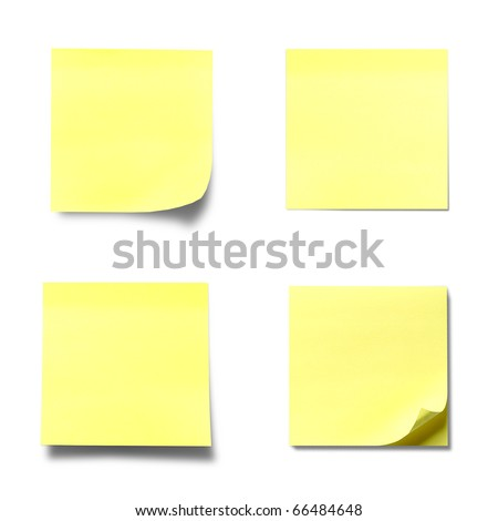 Yellow memo stick isolated on white background - stock photo