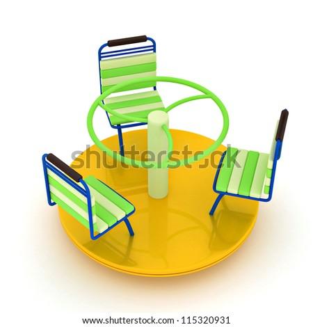 Yellow merry-go-round isolated over white - stock photo