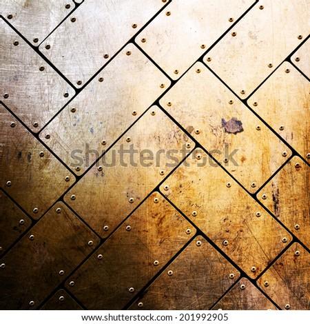 yellow metal background - stock photo