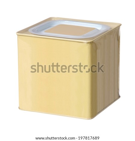 yellow metal box isolated on white   - stock photo