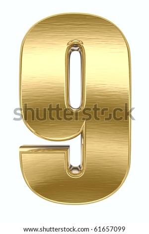 Yellow metal number - stock photo