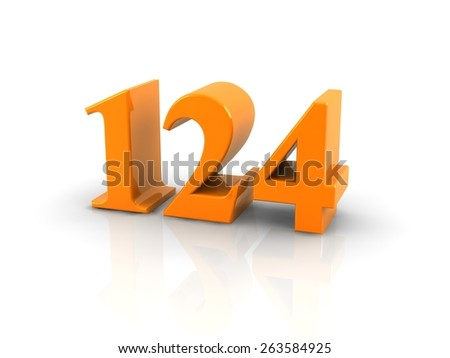 yellow metallic number 124 on white background.digitally generated image.