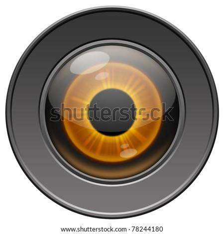 Yellow metallic robot eye on white background - stock photo