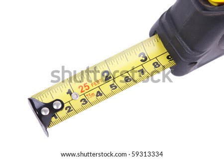Yellow meter over white background. Isolated image