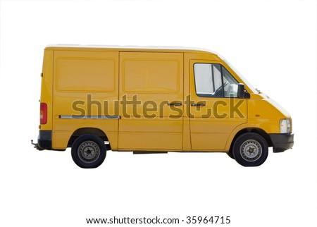 yellow micro van gazelle isolated - stock photo