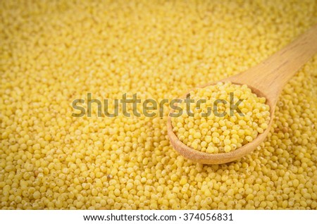 yellow millet in the wooden spoon - stock photo
